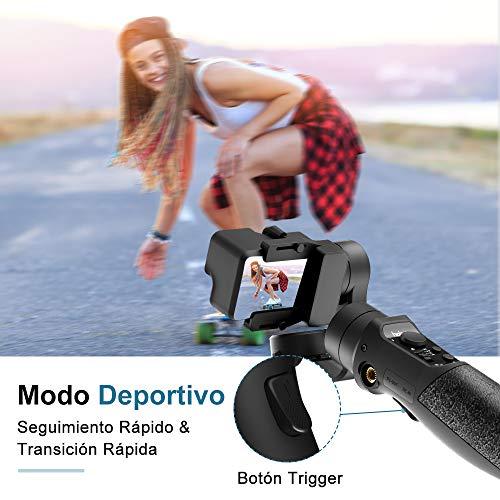 Gimbal Estabilizador para Cámaras de Acción - 3-Axis Gimbal Stabilizer GoPro Hero 7/6/5/4/3, dji Osmo Action, Yi CAM 4K, AEE, Modo Deportivo Actualizado, 12H de Tiempo de Seguimiento de Cara/Objeto
