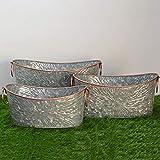 Fiesta Studios Ovale en métal galvanisé Pots de Baignoire Grande Lot de 3avec...