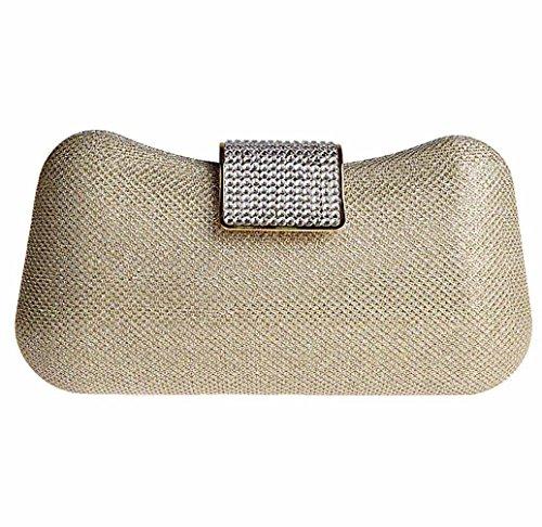 KAXIDY Damen Clutch Abendtasche mit Elegant Funkelndem Kristall Diamant Gold