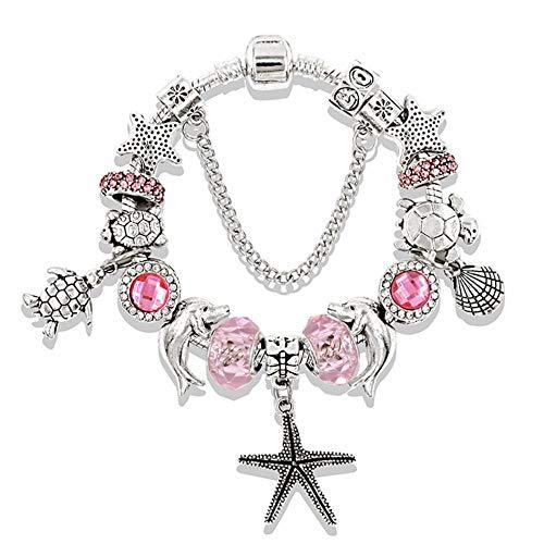 SLVVL Blue Ocean Series Armband Starfish Turtle Perlen Armband Diamond Crystal Armband Pink 21CM