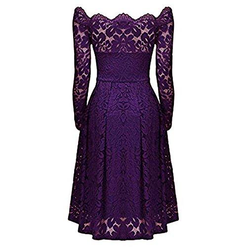 Bluestercool Vestito Elegante Donna Pizzo Moda Abito Manica Lunga viola
