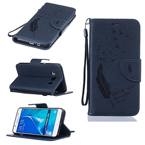 Coque-pour-Samsung-Galaxy-J5-2016-SM-J510F-Housse-en-cuir-pour-Samsung-Galaxy-J5-2016-SM-J510F-Ecoway-Feather-motif-en-relief-tui-en-cuir-PU-Cuir-Flip-Magntique-Portefeuille-Etui-Housse-de-Protection-