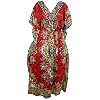 Mogul Interior Women Caftan Dress Red Dashiki Print Viscose Maxi Kimono Kaftan One Size