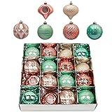Valery Madelyn Weihnachtskugeln 16 Stücke 8CM Kunststoff Christbaumkugeln Weihnachtsdeko mit Aufhänger Baumschmuck für Dekoration Eleganter Palast Thema Mintgrün Rosa Gold MEHRWEG Verpackung