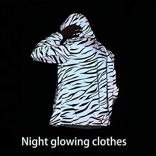 Neue Reflektierende Jacke, Herren-Hoodie Im Frühjahr Und Herbst, Fluoreszierende Zebra-Hip-Hop-Kleidung Für Nachtwanderungen Und Jogging,L