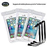 pinlu® 3 Pack IPX8 Wasserdichte Tasche, für Smartphones bis 6 Zoll, für Wiko Pulp Fab 4G, Wiko Pulp 3G, Wiko Pulp 4G, Wiko Rainbow 3G, sandproof Protective Shell -Weiß+Weiß+Weiß