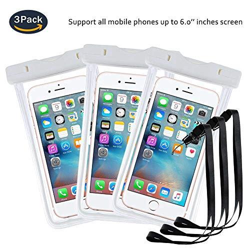 pinlu® 3 Pack IPX8 Wasserdichte Tasche, für Smartphones bis 6 Zoll, für UMI EMAX Mini, UMI Super, UMI Iron, UMI Pro, UMI Fair, sandproof Protective Shell -Weiß+Weiß+Weiß