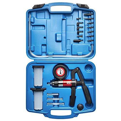 KRAFTPLUS® K.211-7030 Jeu de pompe de contrôle pression - Purge de frein / Testeur à vide pompe à dépression purgeur - 22 pièces