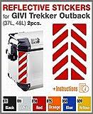 2pcs RIFRANGENTI ADESIVI per VALIGIE LATERALI GIVI Trekker Outback 37L 48L (Red 030)