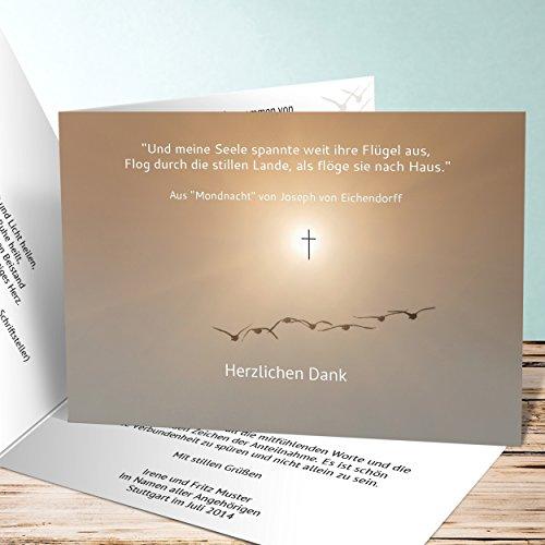 Trauer Danksagungskarten, Vogelflug 15 Karten, Horizontale Klappkarte 148x105 inkl. weiße Umschläge, Weiß