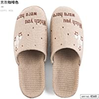 fankou Spring and Summer Cool Slippers Home Bedroom Flat with Furniture of Men and Women in The Nation Slippers Thick Flax Straw,40-41, Brown