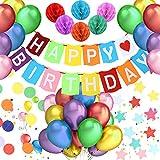 Pushingbest Decorazione Festa di Compleanno, Striscione di Buon Compleanno con Palloncini in Lattice 30PCS, 6 x Palline di Carta a Nido d'Ape, 1 x Pentagramma Bandiera, 1 x Stella per Decorare.