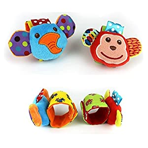 HENGSONG 4 x Baby Infant Soft Toy Animal Wrist Rattles Hands Foots Finders Developmental Toys (Monkey and Elephant)