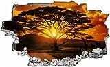 DesFoli Savanne Baum Afrika 3D Look Wandtattoo 70 x 115 cm Wanddurchbruch Wandbild Sticker Aufkleber C302