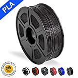 3D Printer Filament PLA, 1.75mm PLA Filament, 3D Printing Filament Low Odor, Dimensional Accuracy +/- 0.02 mm, 2.2 LBS (1KG) Spool,Black