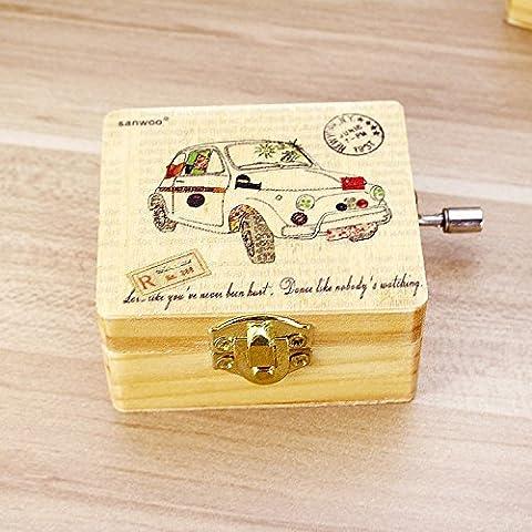 Lanlan Geschenk für Weihnachten Geburtstag Valentine 's Day Kids mit Auto-Bus bedruckt Decor Vintage Holz Mechanismus Spieluhr Wind Up Music Box zufällige