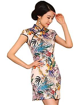 5689f554a3a0 YueLian Cotone Cheongsam Vestito Mini Estivo