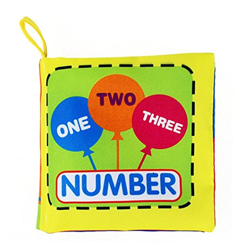 Elecenty Stoffbuch Kleinkindspielzeug,Stoffbuch Stoffspielzeug Babyspielzeug Soft Tuch Baby Buch Spielbuch Puzzlebuch Baby Lernspielzeug Bild erkenne Buch Intelligenz Entwicklungsbuch (10 cm, D)