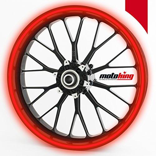 Adhesivos Motoking para llantas 360 °, 9 mm de ancho, rojo reflectante/rueda completa/desde 15' hasta 18'/color y ancho opcionales