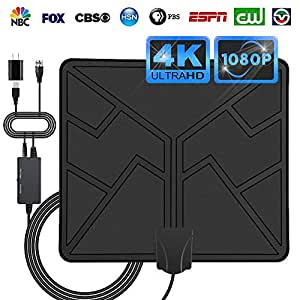 HDTV Digital TV Antenna Indoor -Amplified HD Antenna Long 50-80 Miles Range Switch Amplifier Signal Booster 1080P Free TV Channels -16.5ft Coax Cable/USB Power Adapter (Black)