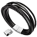 Herren Armband Edelstahl Echtleder Armband - Murtoo schwarz|braun geflochten mit Magnet Verschluss(22cm) (SchwarzA)