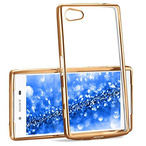 Chrome Case für Sony Xperia Z5 | Transparente Silikon Hülle mit Metallic Effekt | Dünne Handy Schutz Tasche von OneFlow | Back Cover in Gold