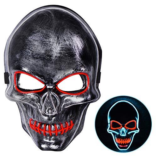 Joyjoz Halloween Maske LED Purge Masken für Erwachsene und Kinder, Led Mask für Halloween Kostüm Cosplay Karneval Party(3 (Japanische Dame Adult Kostüm)