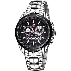 TVG Round Dial Glass Uhr Window Luminous & Alarm & Week Display Function Quarz + Digital Double Movement Herren Uhr mit Alloy Band (Black)