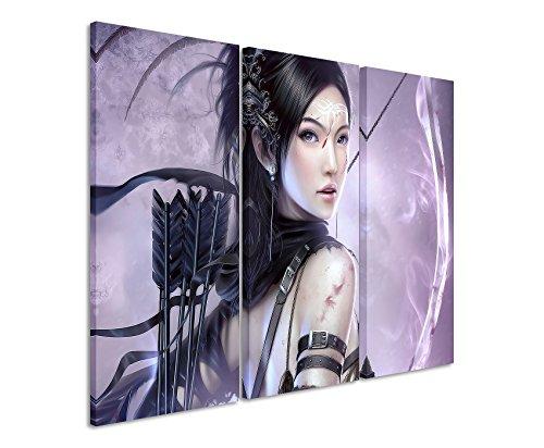 Leinwandbild 3 teilig Fantasy_Girl_Archer_3x90x40cm (Gesamt 120x90cm) _Ausführung schöner Kunstdruck auf echter Leinwand als Wandbild auf Keilrahmen