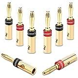UGREEN Bananenstecker Lautsprecher Bananen Stecker für 5.3mm²Bananen Kabel mit 24k vergoldet Schwarz und rot 8Stücks