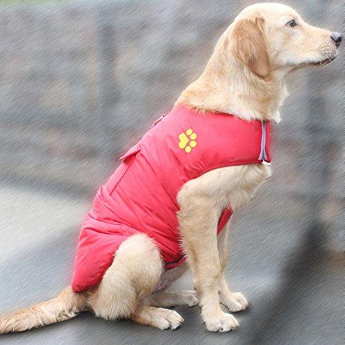 UMALL Hundemantel Winter Wasserdicht Regenjacke für Hunde Reversibel Atmungsaktiv Hundejacke Wintermantel (Grün-reversibel-t-shirt)