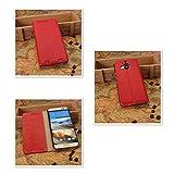 Pdncase HTC M9 Plus Hülle Genuine Leder Tasche Case Wallet Style Lychee Pattern Schutzhülle für HTC One M9 Plus Farbe Rot -
