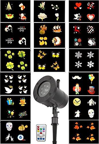 Wasserdicht IP65 LED Lichteffekt Projektorleucht LED Gartenbeleuchtung Projektionslampe Lichteffekte LED Projektor Gartenleuchte Spotlicht 15 Musters/3 Speed für Party Grburtstag Garten