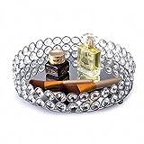 Feyarl Cosmetic Tray Crystal Beads Jewelry Organizer Tray Mirrored Decorative Tray (Silver)