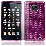 Rosa para Samsung Galaxy S2 i9100 Gel TPU Transparente hexagonal funda + Protector de Pantalla - PART OF JJONLINESTORE ACCESSORIES