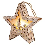 Goefly Decorazione Natalizia Lampada da casa in Legno, LED a Forma di Stella/casa/Triangolo a LED Ornamento da Appendere di Natale Scatola di Luce Natalizia Lampada da Tavolo