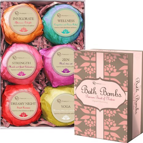Bath Bombs Gift Set - 6 Organic Essential Oil Handmade Spa Fizzies Bath Bomb, With Cocoa & Shea Butter, Relieves pain & Moisturizes Dry Skin Premium