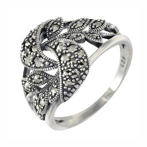 Esse Damen Markasit Sterling-Silber 925 Blatt Swirl Bänder Ring