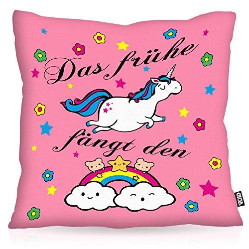 VOID Das frühe Einhorn fängt den Regenbogen Kissenbezug Kissenhülle Outdoor Indoor, Kissen Größe:40 x 40 cm