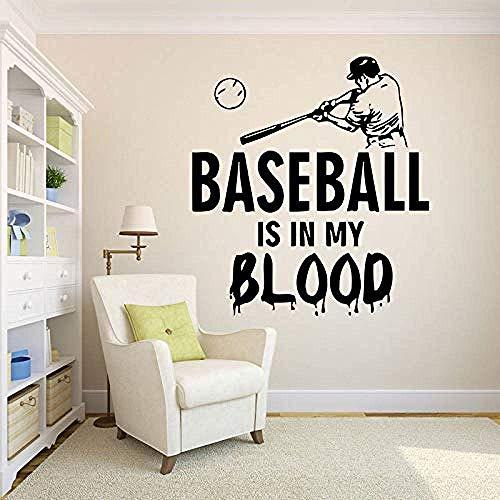 Wandaufkleber Baseball Wandtattoo Baseball Ist In Meinem Blut Vinyl Aufkleber Kinderzimmer Home Decoration Geschenke Für Jungen 42X46Cm