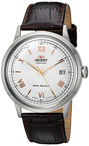 Orient Men's '2nd Gen. Bambino Ver. 2' Japanese Automatic Stainless Steel and Leather Dress Watch, Color:Brown (Model: FAC00008W0)