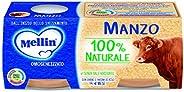 Mellin Omogeneizzato di Manzo 100% Naturale, 12 vasetti da 80 gr