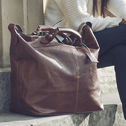 Maxwell Scott Bags® Luxus Weekender Tasche aus Leder in Dunkelbraun (Fabrizo) Braun