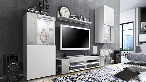 Vladon Wohnwand Anbauwand Movie, Korpus in Weiß matt/Fronten in Weiß matt und Beton Oxid Optik mit weißer LED Beleuchtung