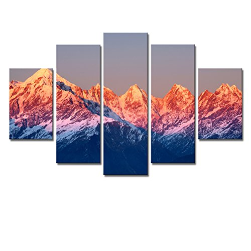 Fotowand Triptychon-Persönlichkeits Wohnzimmer Fünf Frameless Painting Snow Mountain Frame Set für Hausdeko