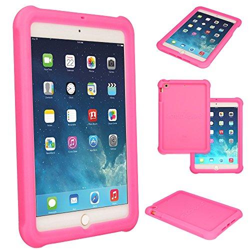 e für Apple iPad Mini 1 2 3, [Kinderfreundlich] Leichtes Koffer Silikon Soft Shell Anti-Rutsch-Shockproof verstärkte Ecken + Displayschutzfolie. hülle für iPad Mini 3 2 1 - Rosa ()