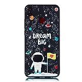 CUAgain Coque Huawei Honor 8X Silicone Motif Drôle Noir Antichoc Ultra Fine Slim TPU Design Étui Honor 8X Bumper Case Cover Kawaii Housse pour Femme Fille Homme,Astronaute