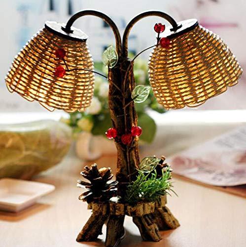 ZHITENG Kiefer Form Doppel Lampe Design Antik Garten Stroh Kleine Nacht Licht Dekoration Lampe - Antik-nacht-licht