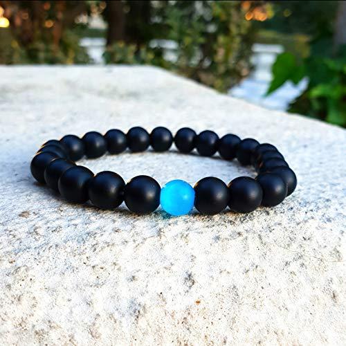 2f459ae9cedc ... Imagen de youone pulseras hombre de cuentas negra brazalete bolas  chakra joyas para hombres piedras onix