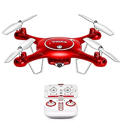 Ocamo Syma X5UW FPV RC Drone,720P HD Wi-Fi Camera Quadcopter Drone with Flight Plan Route App Control & Altitude Hold Function Red